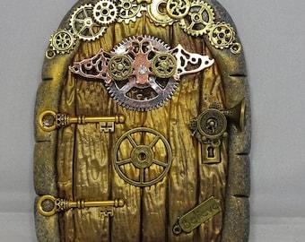Ste&unk Cogs and Wings Fairy Door & Steampunk door | Etsy