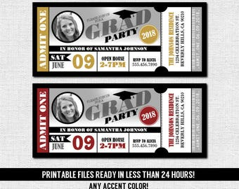 GRADUATION PARTY TICKET Invitations - Class of 2018 - 2019 Grad - Any Color - Admit One (print your own) Personalized Printable w/ Photo