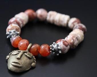 African tribal mask bracelet - brass mask charm bracelet - gemstone bracelet - stretch stacking boho bracelet - rustic sterling bracelet