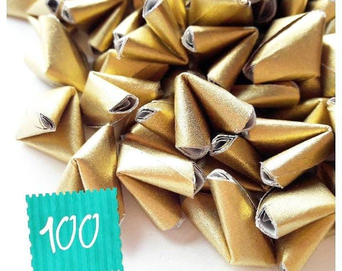 100 metallic gold paper origami heart love messages - wedding - Free worldwide shipping - wedding favour - gold wedding decoration