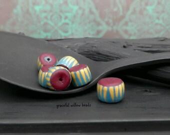 Striped Polymer Mini Rondelle Bead - Teal Dark Plum Gold - Handmade Modern Bohemian Bead - 6-7mm - Pkg. 6