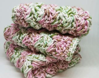 Spring Washcloths - Set of 3 Pink and Green Cotton Washcloth  -  Soft Cotton Washcloths - Crocheted Facecloths