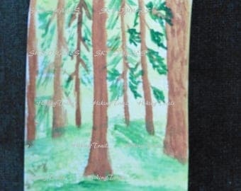 Hand Painted ACEO, A Forest, woodland style, forest wall art, original painting, woods, miniature art, Fine Art Watercolor by HikingTrails