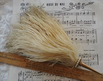 Antique French Feather Plume in Gold Metal Pearl Posie Posy Holder Tussie Mussie Millinery Vintage Flapper Edwardian Cloche Hat Wedding