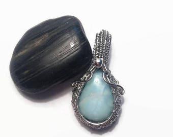 Larimar Wire Wrap Necklace Pendant/ Wire Wrap Jewelry/ Wire Wrap Necklace/ Larimar Jewelry/ Gemstone Jewelry