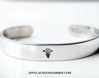 "Custom Medical Bracelet - 3/8"" Wide Cuff, Secret Message"