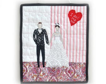 Wedding Mini Quilt, Fabric Art Quilt, Wall Decor, Bride and Groom Quilt Wall Hanging, Cottage Chic, OOAK, Handmade, bridal wedding decor