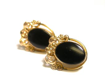 Vintage Earrings - Van Dell 12K Yellow Gold Filled Oval Black Onyx Earrings - Weight 5.5 Grams - Screw Back - Designer Jewelry # 941