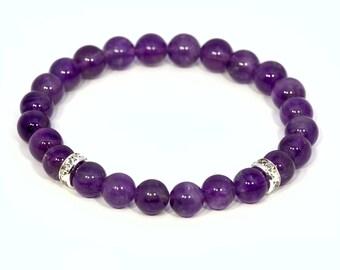 amethyst bracelet, purple bracelet, natural amethyst, amethyst jewelry, birthstone bracelet, beaded bracelet, healing bracelet, bracelet