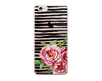 Ready To Ship - Striped Iphone 6/6s plus case with clear back, Pink flowers  black stripe Transparent, Stocking stuffer for daughter (1708)