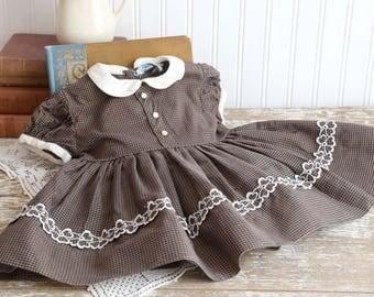 Vintage Baby Girls Brown Dress, 2T Girls Brown Checked Dress, 1950s Little Girls Dress, Cotton Dress, Baby Girl Summer Dress