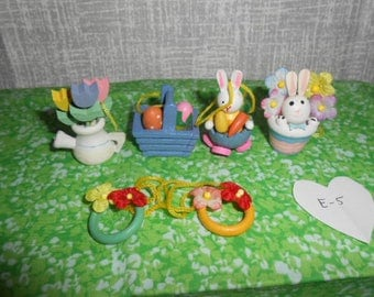 Six Wooden Mini Easter Ornaments-Pre-Owned  #E-5