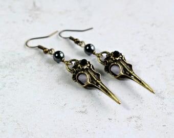 Raven Skull Earrings, Black Earrings, Gothic Earrings, Bird Skull Jewelry, Gothic Accessories, Steampunk Earrings, Skull Jewellery