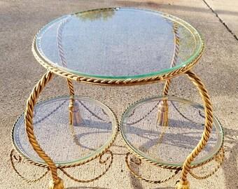 ON SALE Vintage Hollywood Regency Style Italian Gilt Metal Rope & Tassel Coffee Table