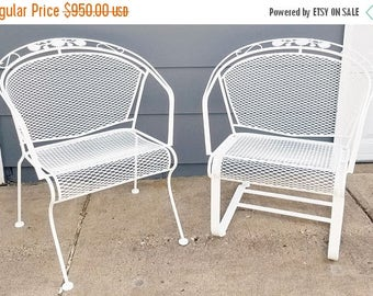 "ON SALE Vintage Woodard ""Daisy Bouquet "" Wrought Iron Barrel Back Patio Chairs"