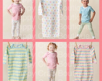 2018 Spring Easter stripe dot Kids pajamas by Happy Crab Boutique