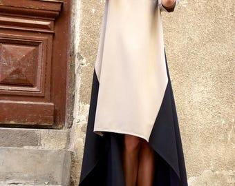 SALE New Collection  Maxi Dress /Beige and Black Asymmetrical Kaftan/Extravagant Long  short  Dress /Party Dress /Daywear Dress by AAKASHA A