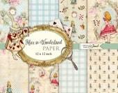Alice in Wonderland Paper - Scrapbooking Printable Paper - 12 x 12 inch - background - set of 8 - Printable Download