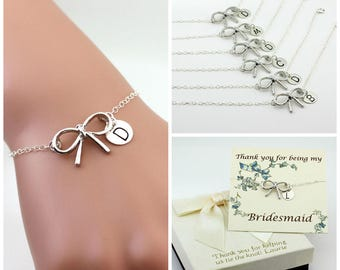 Free Shipping Set of 6 personalized sterling silver bow bracelets. bridesmaids, Sterling silver Jewelry, Personalized, monograme bracelet