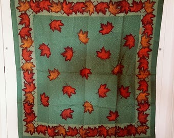 Scarf Silk Square / Autumn Leaves / Vintage Robinson & Golluber / Bronze Dark Green / Charming Old Store Scarf / Nylon Acetate / Italy