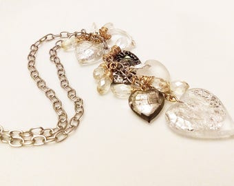 Long Necklace with White Crystal Hearts Cluster