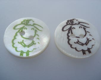 20mm Natural Shell Buttons, 2-Hole Round Mixed Colour Sheep Buttons, 5 Shell Buttons, 40p Each!! S03