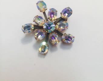 Vintage crystal clear AB pin