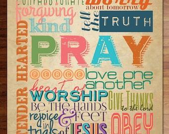 Family Rules Scripture poster- DIY - INSTANT digital download