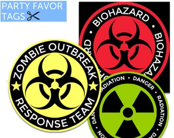 Zombie Party - Zombie Favor Tags, Zombie Party Favor Tags, Zombie Decorations, Zombie Party Printables, Zombie Themed Party