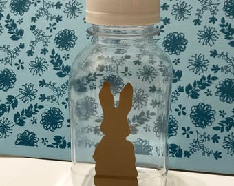 1- Peter Cotton Tail Easter 8 oz or 12 oz Vinyl Plastic Milk Bottles with Holes in Lids