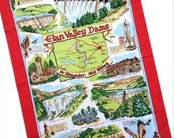Vintage Elan Valley Dams Wales Rhayader Tea Towel teatowel