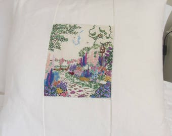 Cushion, Beautiful vintage panel of embroidered cottage garden