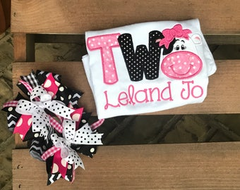 Cow birthday - farm birthday - 1st birthday - 2nd birthday - cow shirt - cow - applique - embroidery - personalize - hair bow