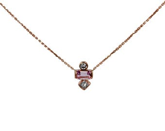 Pink Sapphire and Diamond Necklace