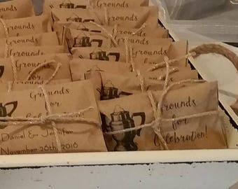 Wedding Coffee Favor Bags, Grounds for Celebration Custom Wedding Favors,  Recycled Brown Paper Personalized Printed Sack