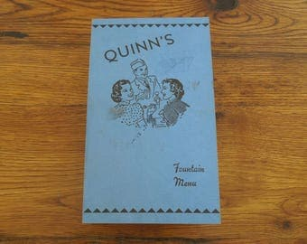 Vintage 1940's Menu Quinn's Drugstore Soda Fountain- Schenectady NY