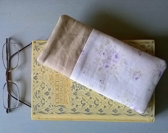 White Linen with Pale Lilac Roses Glass Case with Natural Linen Specs Case /Glasses Case