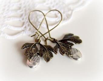 Antique bronze dangle earrings. Acorn long earrings. Silver brass vintage earrings. Gift for her, simple everyday jewelry