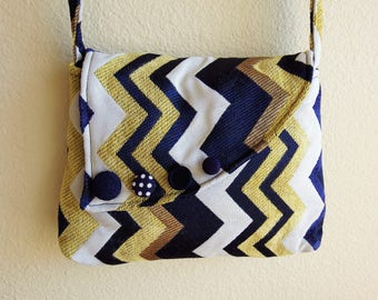fabric purse handmade shoulder bag with cross body strap made with recycled clothing by cant have