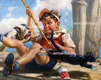 Boy and Dog Fishing, Chasing the Cat,  1930s RESTORED Print, Gift for Fisherman, Little Boy's Room Print #620