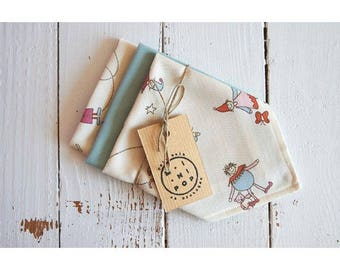 Unbleached organic cotton and blue child hankies, set of 3 washable handkerchiefs, zero waste