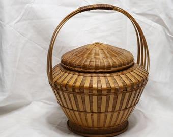 Vintage Chinese Bamboo Lidded Basket - Lantern Shape - Unmarked - 1970s