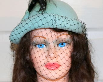 1940s Light Blue Merrimac Ladies Hat  - Very Good Condition - Black Feather and Veil Accent - Fashion Curl - Wool Hat - Made in USA