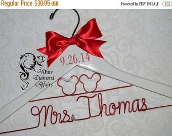 SUMMER SALE Mickey and Minnie Mouse Disney Themed Wedding Dress Hanger, Personalized Bridal Hanger, Personalized Bridal Gift - Rush delivery