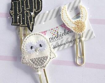 Glasses Boy/Owl/Gold Ball/Sparkle Applique Paper Clip/Planner Clip/Bookmark/Journal Marker