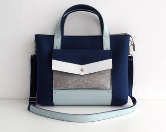 Felt Leather Handbag Navy Blue Gray White