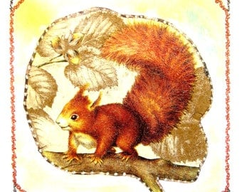 Hand made card and decorated with assorted color envelope: small squirrel.