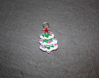 Charm pendant in silver and enamel 26 Christmas tree x 15 mm