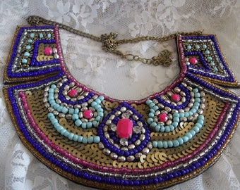 Vintage Sequined Beaded NECKLACE
