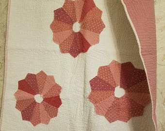 Pink Vintage Dresden on off- white fabric